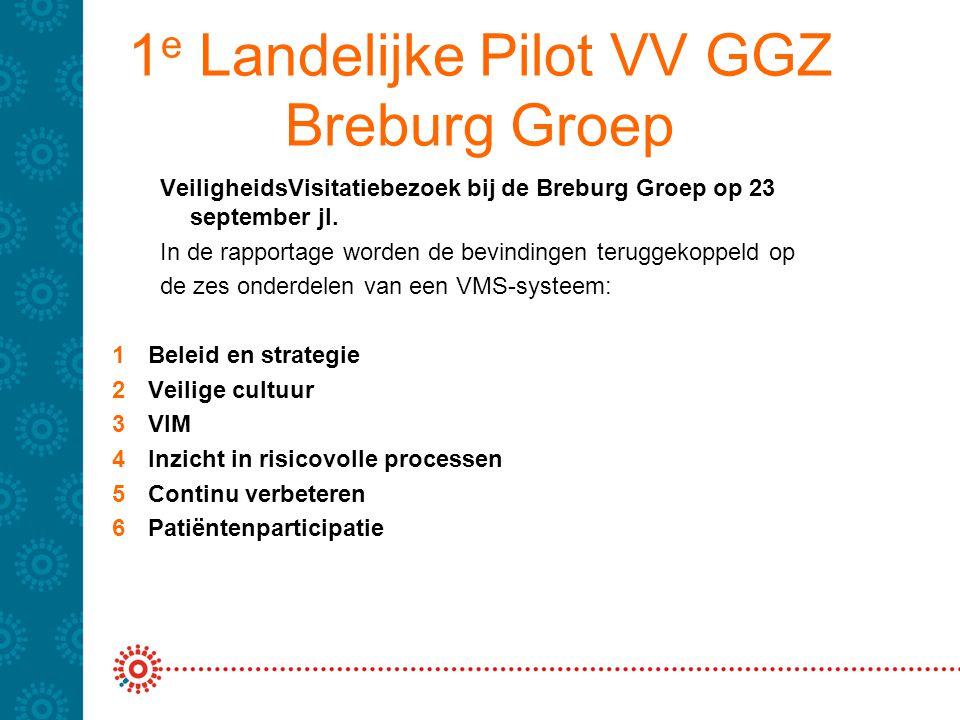 1 e Landelijke Pilot VV GGZ Breburg Groep VeiligheidsVisitatiebezoek bij de Breburg Groep op 23 september jl. In de rapportage worden de bevindingen t