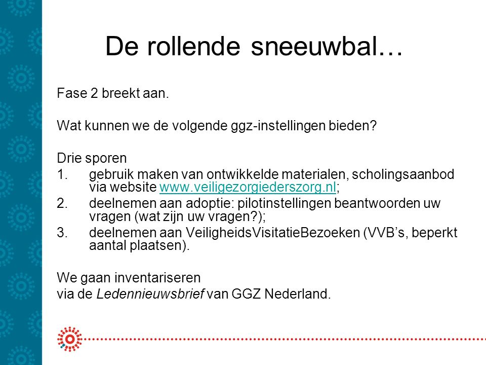De rollende sneeuwbal… Fase 2 breekt aan. Wat kunnen we de volgende ggz-instellingen bieden? Drie sporen 1.gebruik maken van ontwikkelde materialen, s