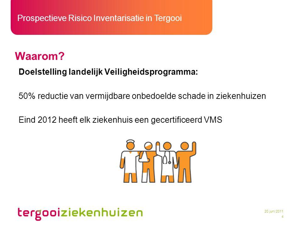 Prospectieve Risico Inventarisatie in Tergooi 4 20 juni 2011 Waarom? Doelstelling landelijk Veiligheidsprogramma: 50% reductie van vermijdbare onbedoe