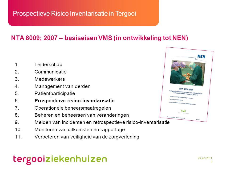 Prospectieve Risico Inventarisatie in Tergooi 5 20 juni 2011 NTA 8009; 2007 – basiseisen VMS (in ontwikkeling tot NEN) 1.Leiderschap 2.Communicatie 3.