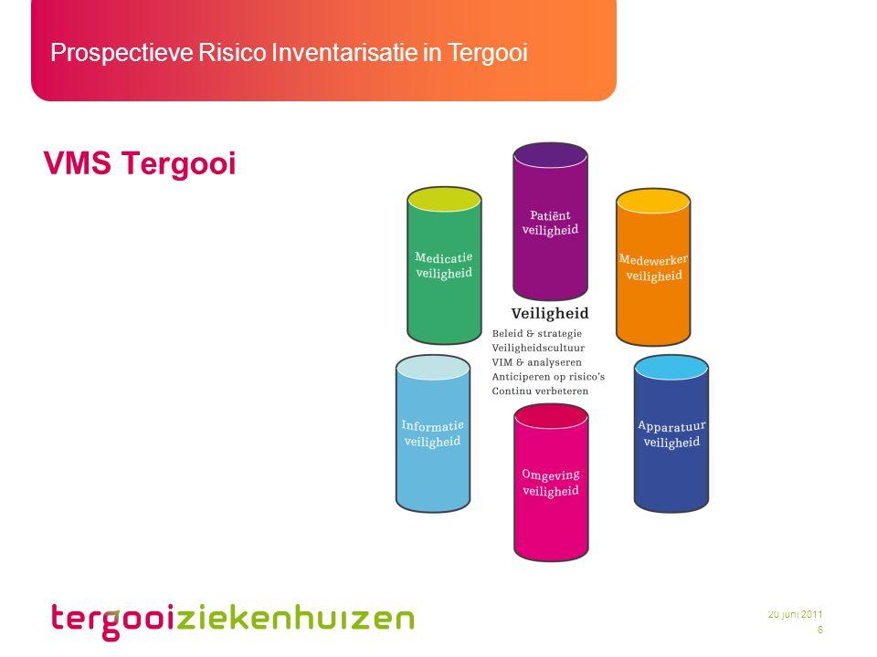 Prospectieve Risico Inventarisatie in Tergooi 7 20 juni 2011 Definitie PRI Een voorspellende analysemethode om onveilige situaties en risico's in zorgprocessen te inventariseren en nog voordat deze plaatsvinden te voorkomen.