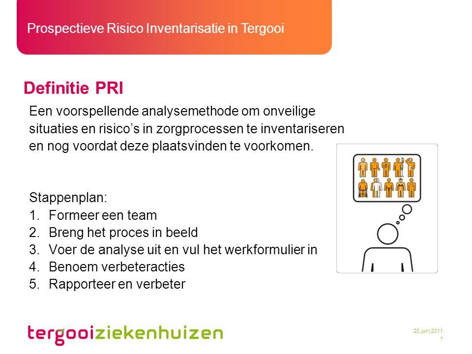Prospectieve Risico Inventarisatie in Tergooi 8 20 juni 2011 Start PRI in Tergooi –Werven medewerkers die bereid zijn PRI expert te worden –Contracteren van een gastdocent –Uitvoeren van de incompany training –Verzamelen van (praktijk)informatie –Vaststellen eigen werkwijze –Ontwikkelen hulpmiddelen –Stappenplan –Excel sheet –Intranet >>> Gewoon beginnen