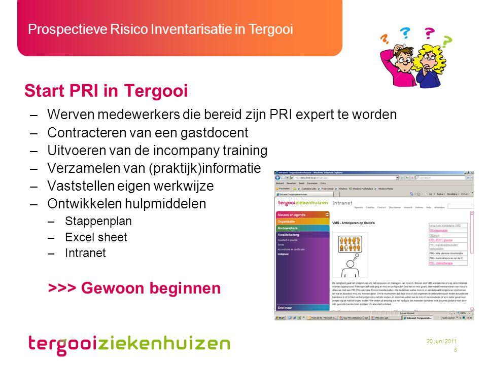 Prospectieve Risico Inventarisatie in Tergooi 8 20 juni 2011 Start PRI in Tergooi –Werven medewerkers die bereid zijn PRI expert te worden –Contracter