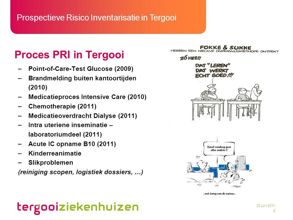 Prospectieve Risico Inventarisatie in Tergooi 9 20 juni 2011 Proces PRI in Tergooi –Point-of-Care-Test Glucose (2009) –Brandmelding buiten kantoortijd