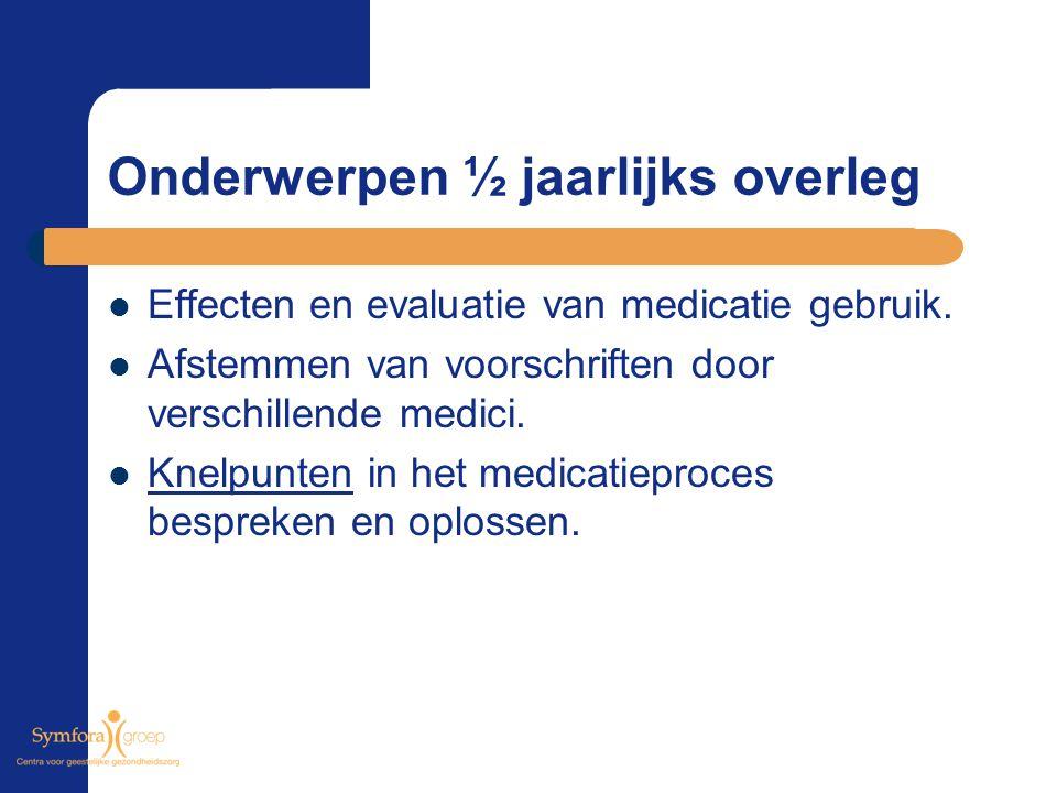 Onderwerpen ½ jaarlijks overleg Effecten en evaluatie van medicatie gebruik. Afstemmen van voorschriften door verschillende medici. Knelpunten in het