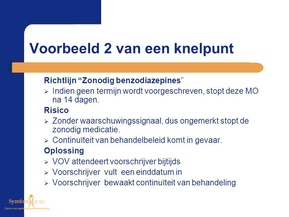 """Voorbeeld 2 van een knelpunt Richtlijn """"Zonodig benzodiazepines""""  Indien geen termijn wordt voorgeschreven, stopt deze MO na 14 dagen. Risico  Zonde"""