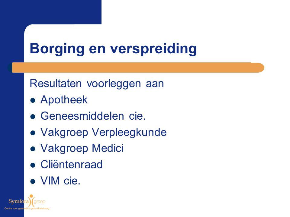 Borging en verspreiding Resultaten voorleggen aan Apotheek Geneesmiddelen cie. Vakgroep Verpleegkunde Vakgroep Medici Cliëntenraad VIM cie.
