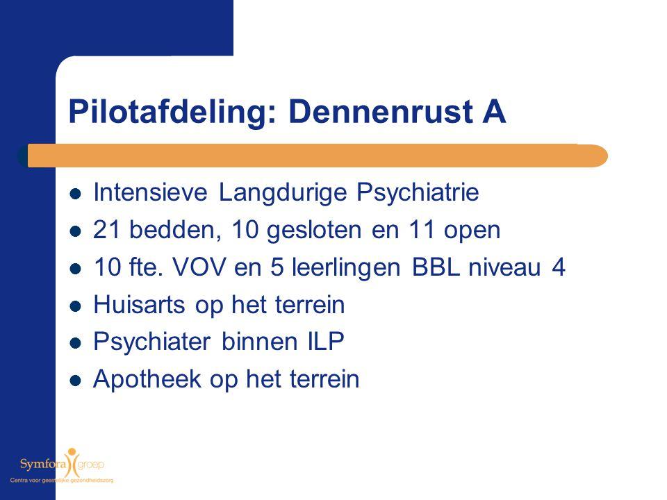 Pilotafdeling: Dennenrust A Intensieve Langdurige Psychiatrie 21 bedden, 10 gesloten en 11 open 10 fte. VOV en 5 leerlingen BBL niveau 4 Huisarts op h