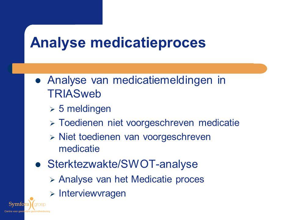 Analyse medicatieproces Analyse van medicatiemeldingen in TRIASweb  5 meldingen  Toedienen niet voorgeschreven medicatie  Niet toedienen van voorge