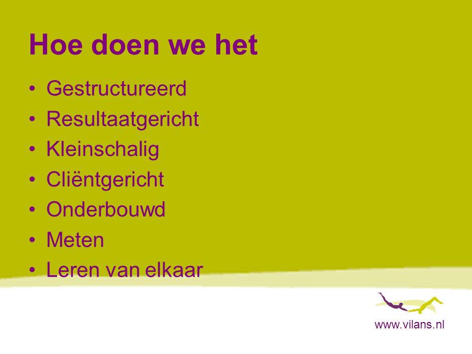 www.vilans.nl Hoe doen we het Gestructureerd Resultaatgericht Kleinschalig Cliëntgericht Onderbouwd Meten Leren van elkaar