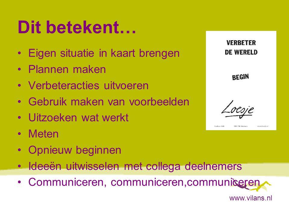 www.vilans.nl Dit betekent… Eigen situatie in kaart brengen Plannen maken Verbeteracties uitvoeren Gebruik maken van voorbeelden Uitzoeken wat werkt M