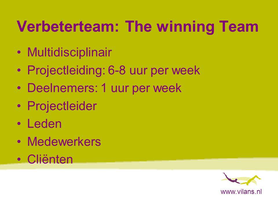 www.vilans.nl Verbeterteam: The winning Team Multidisciplinair Projectleiding: 6-8 uur per week Deelnemers: 1 uur per week Projectleider Leden Medewer