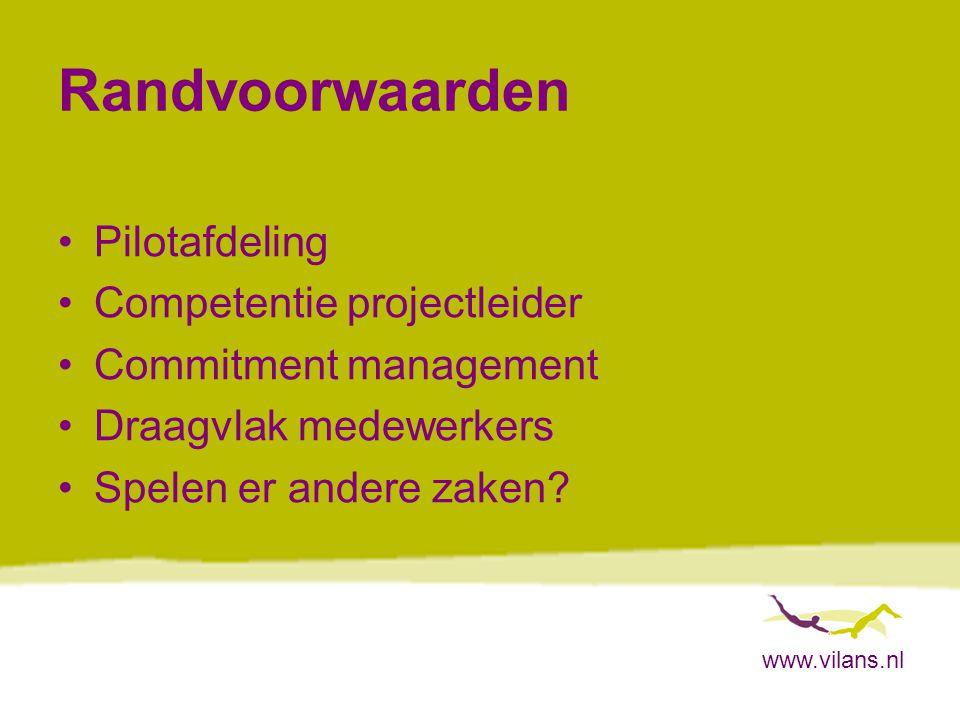www.vilans.nl Randvoorwaarden Pilotafdeling Competentie projectleider Commitment management Draagvlak medewerkers Spelen er andere zaken?