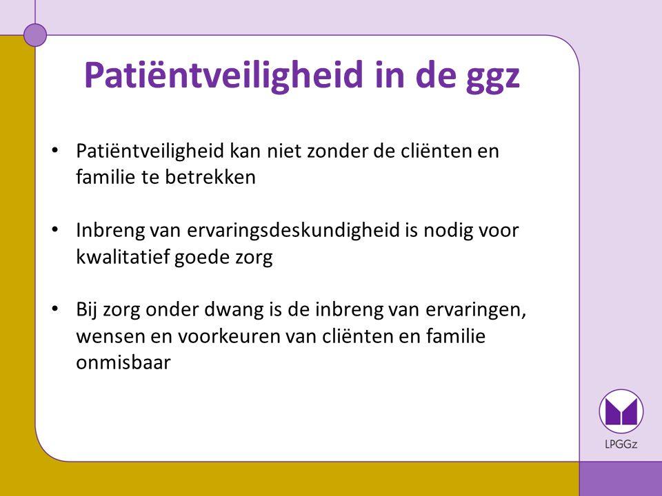 Rol LPGGz bij veilige zorg Deelname aan de ontwikkelgroep en de stuurgroep patiëntveiligheid van GGz Nederland.