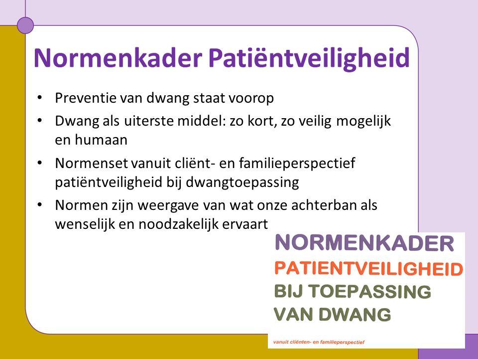 Normenkader Patiëntveiligheid Bevat de volgende onderdelen: 1.Algemene normen rondom zorg en dwang 2.Verplaatsingen en vervoer 3.Veiligheidsaspecten tijdens de dwangtoepassing Normen die vóórkomen in HKZ Eigen LPGGz normen