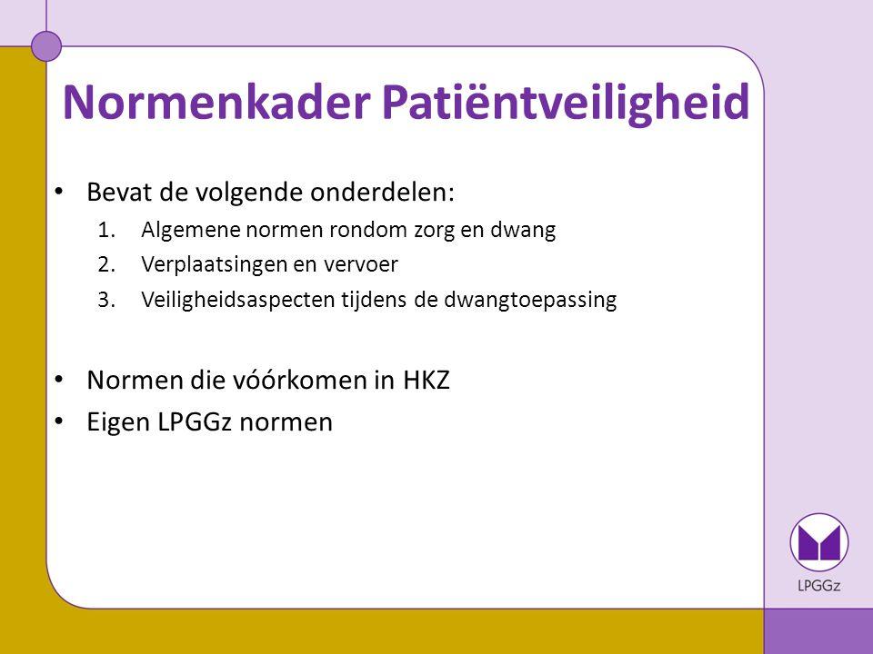 Normenkader Patiëntveiligheid Eigen LPGGz normen: voorbeelden – Bij dwangtoepassing kan een cliënt binnen 24 uur een beroep doen op een ervaringsdeskundige die getraind is in het ondersteunen bij dwang.