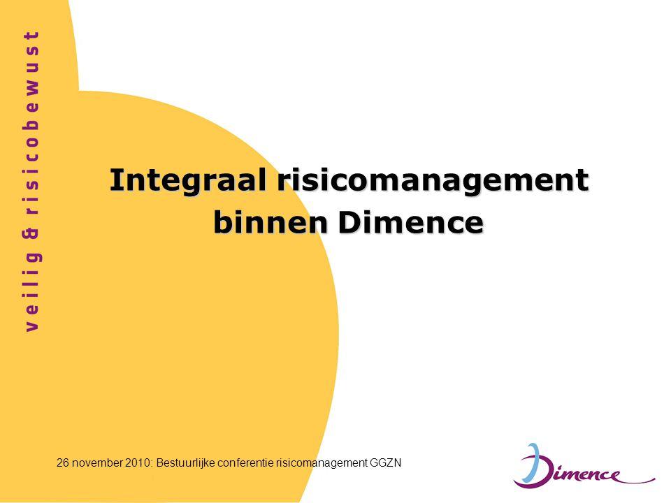 Integraal risicomanagement binnen Dimence 26 november 2010: Bestuurlijke conferentie risicomanagement GGZN