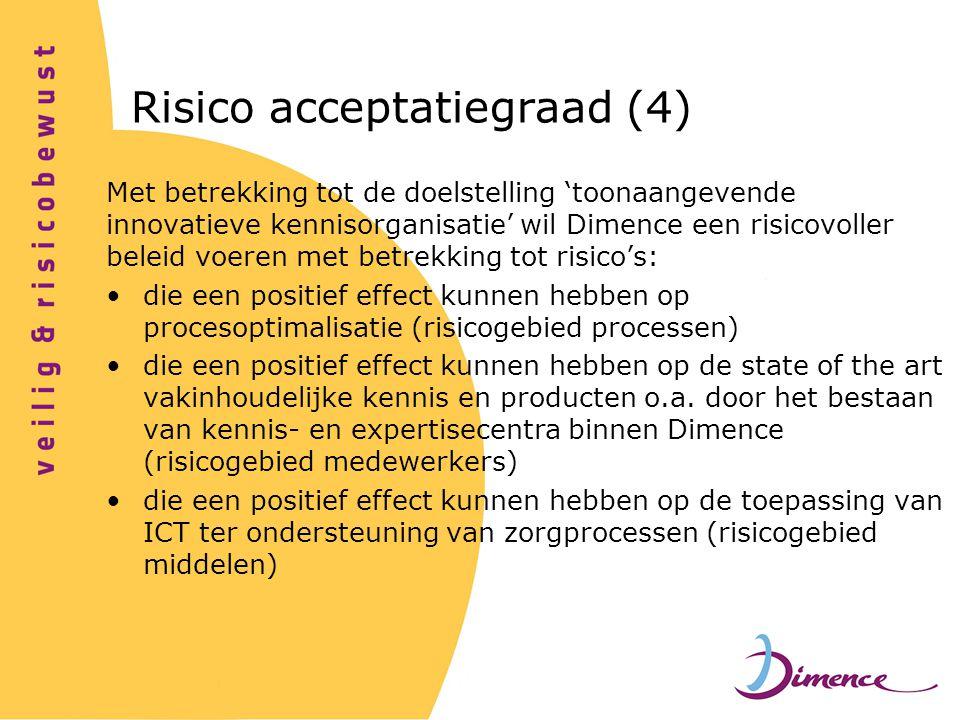 Met betrekking tot de doelstelling 'toonaangevende innovatieve kennisorganisatie' wil Dimence een risicovoller beleid voeren met betrekking tot risico