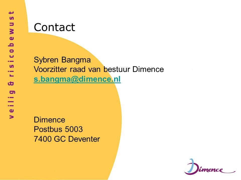 Contact Sybren Bangma Voorzitter raad van bestuur Dimence s.bangma@dimence.nl Dimence Postbus 5003 7400 GC Deventer