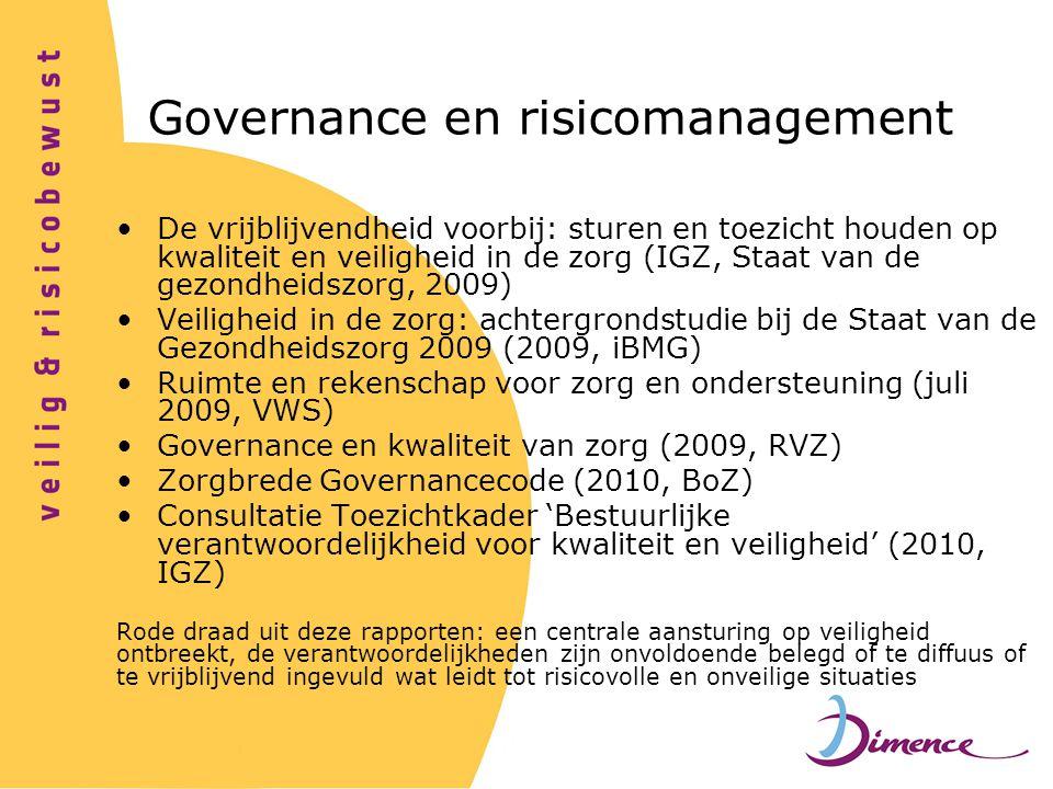 Governance en risicomanagement De vrijblijvendheid voorbij: sturen en toezicht houden op kwaliteit en veiligheid in de zorg (IGZ, Staat van de gezondh