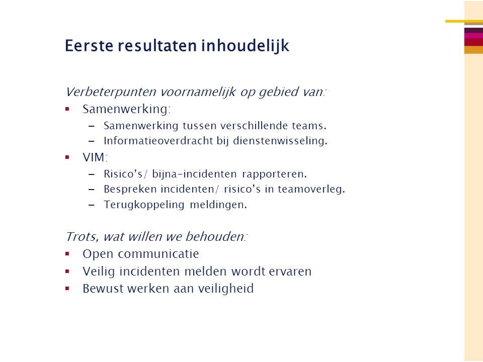 Eerste resultaten inhoudelijk Verbeterpunten voornamelijk op gebied van:  Samenwerking: – Samenwerking tussen verschillende teams. – Informatieoverdr