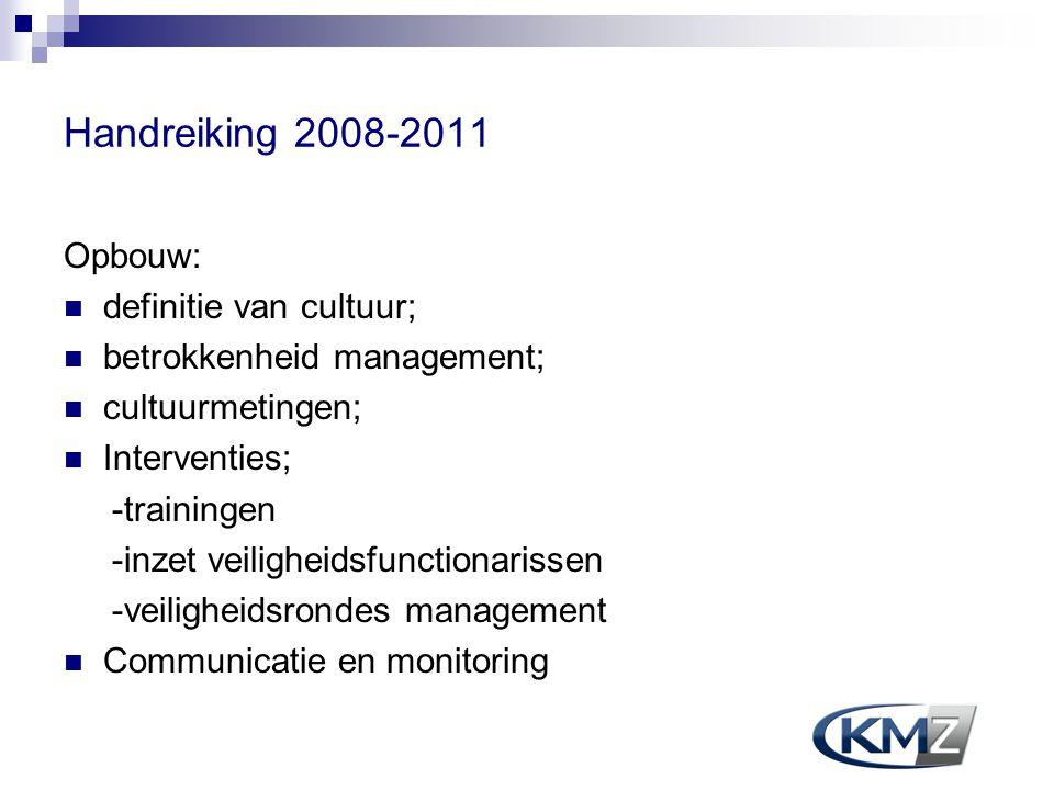 Handreiking 2008-2011 Opbouw: definitie van cultuur; betrokkenheid management; cultuurmetingen; Interventies; -trainingen -inzet veiligheidsfunctionar
