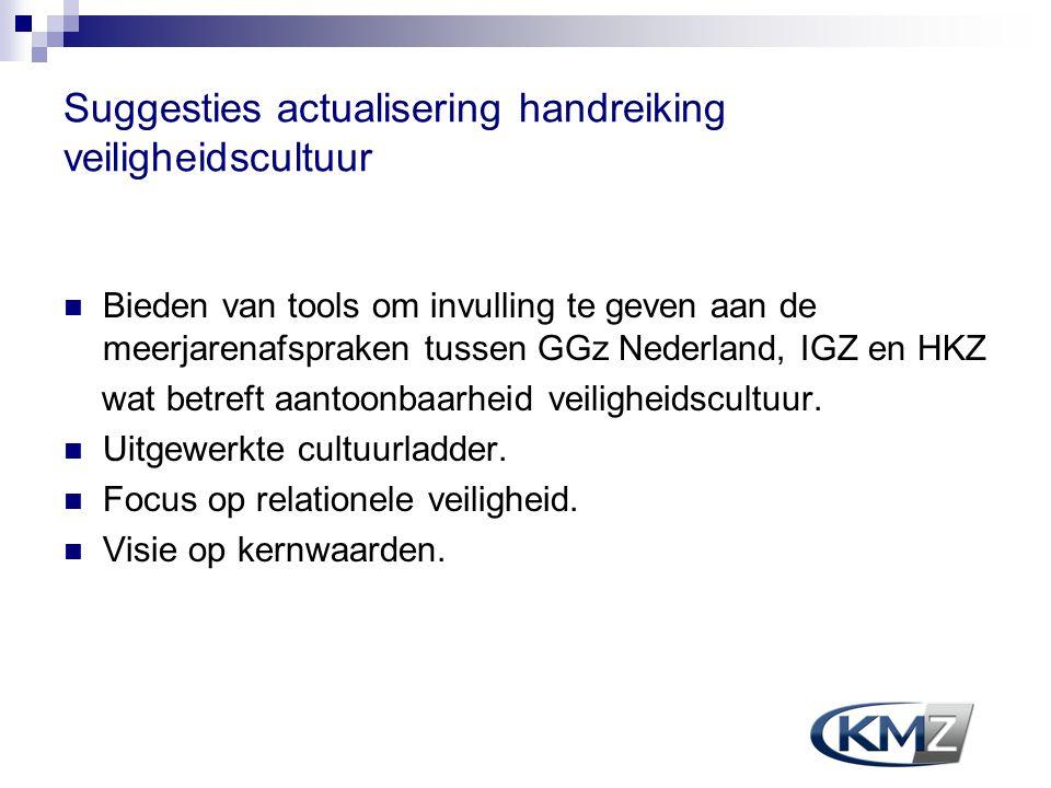 Suggesties actualisering handreiking veiligheidscultuur Bieden van tools om invulling te geven aan de meerjarenafspraken tussen GGz Nederland, IGZ en
