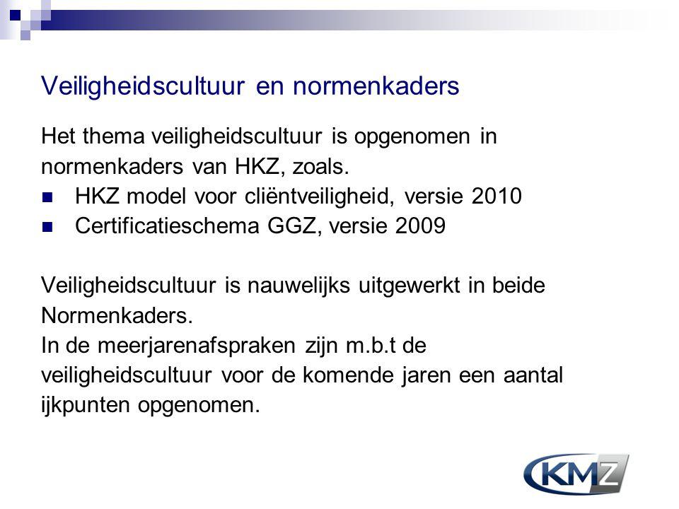 Veiligheidscultuur en normenkaders Het thema veiligheidscultuur is opgenomen in normenkaders van HKZ, zoals. HKZ model voor cliëntveiligheid, versie 2