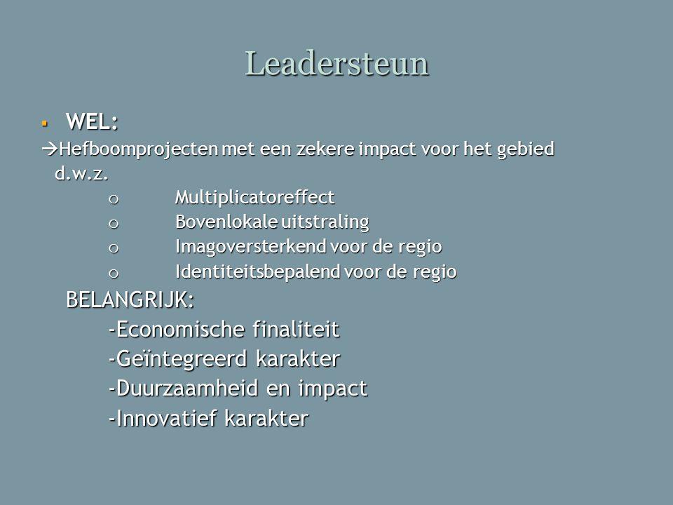 Leadersteun  WEL:  Hefboomprojecten met een zekere impact voor het gebied d.w.z. d.w.z. o Multiplicatoreffect o Bovenlokale uitstraling o Imagoverst