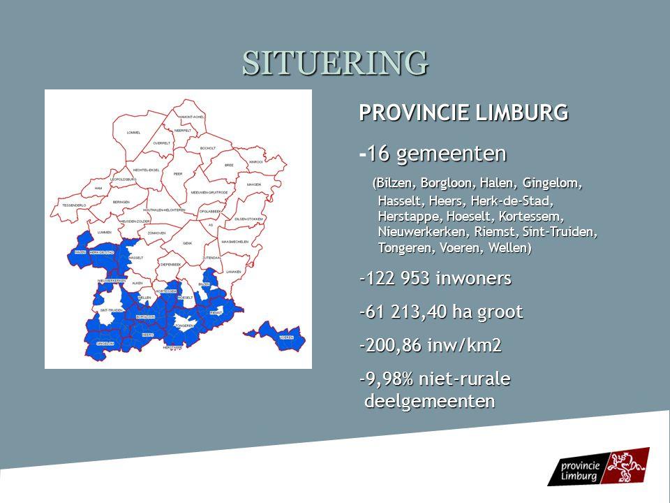 SITUERING Specifieke kenmerken regio  Landschappelijk: -vruchtbare bodem, een zacht glooiend reliëf, rivieren en open ruimtes -Agrarisch karakter (akker-, fruit- en veeteelt) en erfgoed- en cultuurlandschap zijn beeldbepalend -3 deelgebieden ( Vochtig en Droog Haspengouw, en Voerstreek)  Sociaal-economisch: -land- en tuinbouwgebied bij uitstek (sterke aanwezigheid fruitteelt) -Toerisme als belangrijke pijler van de Zuid-Limburgse economie -aandeel oudere werkzoekenden hoger dan in de rest van Limburg