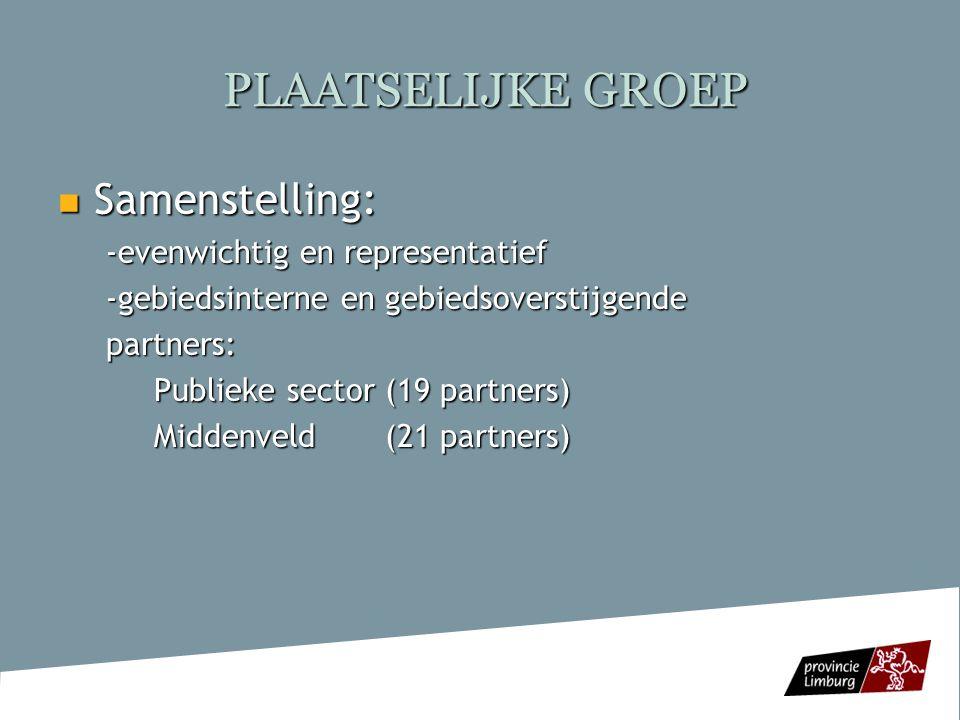 PLAATSELIJKE GROEP  LEDEN Publieke sector Bilzen, Borgloon, Halen, Gingelom, Hasselt, Heers, Herk-de-Stad, Herstappe, Hoeselt, Kortessem, Nieuwerkerken, Riemst, Sint- Truiden, Tongeren, Voeren, Wellen, Provincie Limburg, ERSV-Limburg vzw, Vlaamse Landmaatschappij Limburg Middenveld Toerisme Limburg vzw, Unizo-Limburg vzw, VAC-Limburg, BB-Consult vzw, De Wroeter vzw, Labor Ter Engelen vzw, Groenwerk vzw, Natuur- en Landschapsbeheer vzw, Regionaal Landschap Haspengouw en voeren vzw, Natuurpunt vzw, Nationale Boomgaardenstichting vzw, RIMO-Limburg vzw, Stebo vzw, CAW Sonar vzw, Steunpunt Groene Zorg vzw, Landelijke Gilden vzw, KVLV vzw, Plattelandsklassen vzw, Cultuur Borgloon vzw, Kasteel Mariagaarde vzw, Convivere vzw