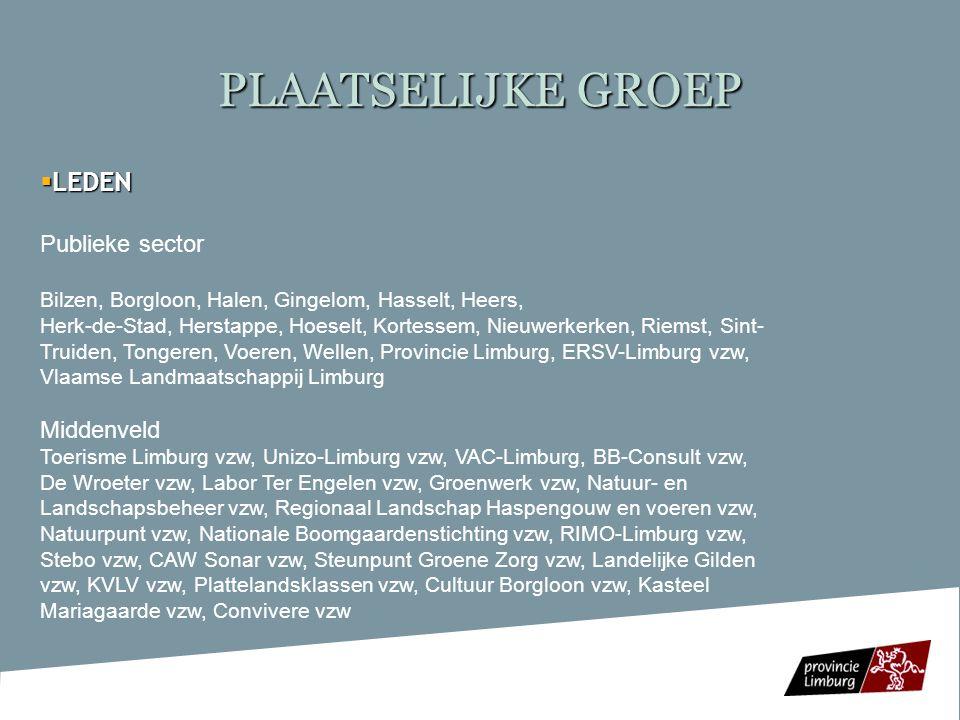 PLAATSELIJKE GROEP Administratieve structuur: Administratieve structuur:  Interlokale vereniging met Provincie Limburg als administratief en financieel eerstverantwoordelijke Provincie Limburg als administratief en financieel eerstverantwoordelijke Werking: Werking: -Beheerscomité of PG -Leadercomité (besluitvormingsorgaan)  publieke sector (7 leden)  Middenveld (8 leden)  Ambtenaar plattelandloket (adviserend)  Ambtenaar Provinciaal Centrum Cultureel  Ambtenaar Provinciaal Centrum Cultureel Erfgoed (adviserend) Erfgoed (adviserend) -1 VTE coördinator + ¼ VTE administratief bediende