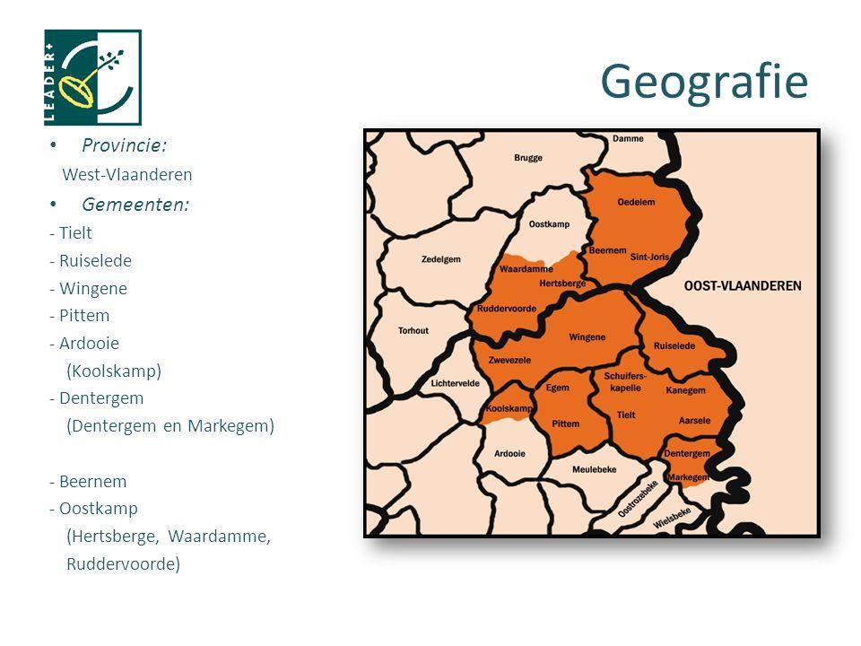 Provincie: West-Vlaanderen Gemeenten: - Tielt - Ruiselede - Wingene - Pittem - Ardooie (Koolskamp) - Dentergem (Dentergem en Markegem) - Beernem - Oostkamp (Hertsberge, Waardamme, Ruddervoorde) Geografie