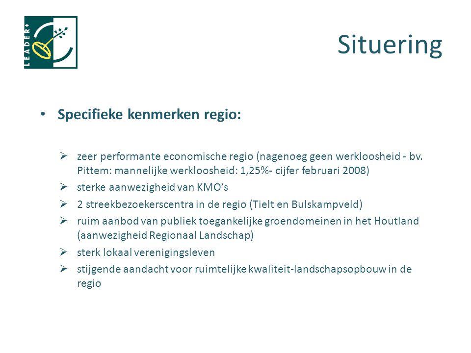 Situering Specifieke kenmerken regio:  zeer performante economische regio (nagenoeg geen werkloosheid - bv. Pittem: mannelijke werkloosheid: 1,25%- c