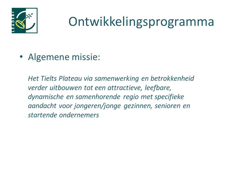 Ontwikkelingsprogramma Algemene missie: Het Tielts Plateau via samenwerking en betrokkenheid verder uitbouwen tot een attractieve, leefbare, dynamisch