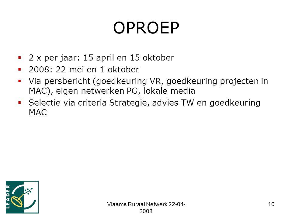 Vlaams Ruraal Netwerk 22-04- 2008 10 OPROEP  2 x per jaar: 15 april en 15 oktober  2008: 22 mei en 1 oktober  Via persbericht (goedkeuring VR, goedkeuring projecten in MAC), eigen netwerken PG, lokale media  Selectie via criteria Strategie, advies TW en goedkeuring MAC