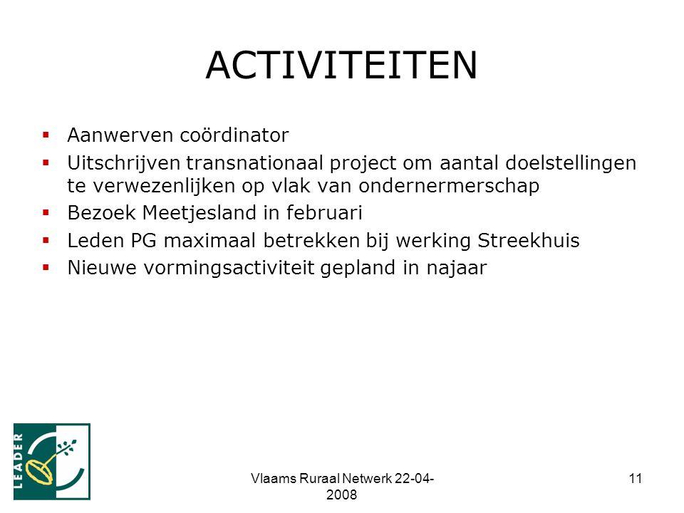Vlaams Ruraal Netwerk 22-04- 2008 11 ACTIVITEITEN  Aanwerven coördinator  Uitschrijven transnationaal project om aantal doelstellingen te verwezenli