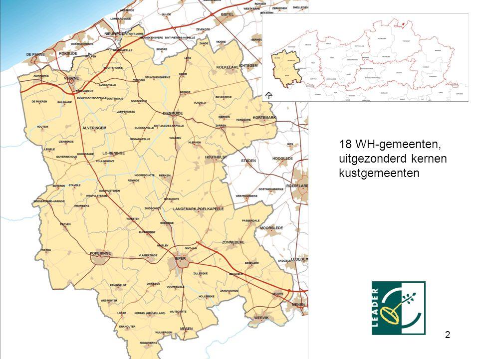 Vlaams Ruraal Netwerk 22-04- 2008 3 EEN RURALE REGIO:  Tussen Westkust, as Oostende, Brugge, Roeselare, Kortrijk, as Lille en Dunkerque  18 gemeenten, 88 dorpen (uitgez.