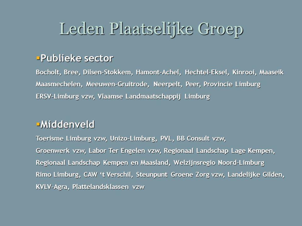 Leden Plaatselijke Groep  Publieke sector Bocholt, Bree, Dilsen-Stokkem, Hamont-Achel, Hechtel-Eksel, Kinrooi, Maaseik Maasmechelen, Meeuwen-Gruitrod