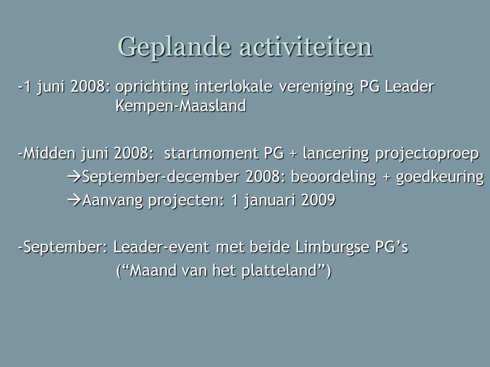 Geplande activiteiten -1 juni 2008:oprichting interlokale vereniging PG Leader Kempen-Maasland -Midden juni 2008: startmoment PG + lancering projectop