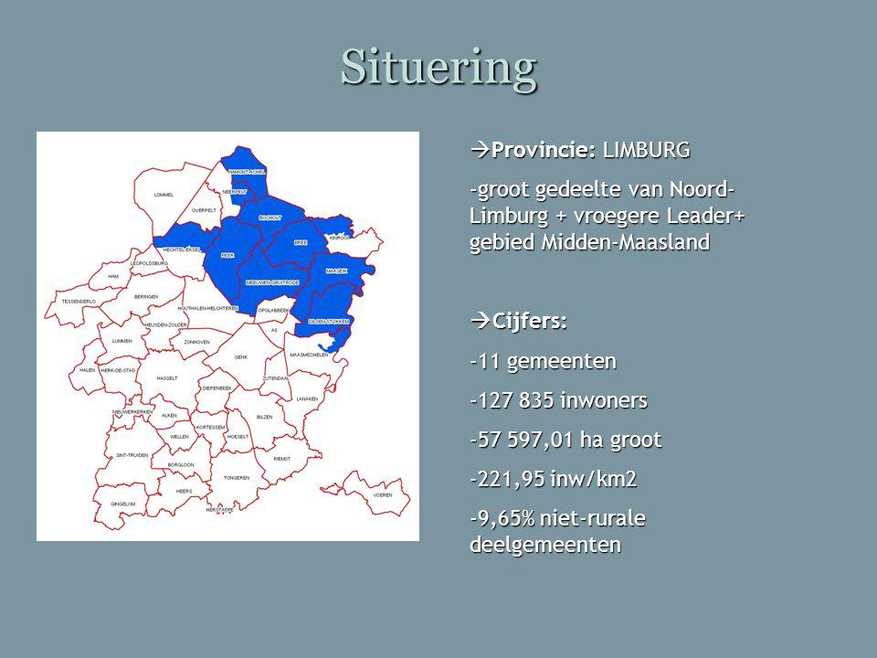 Situering  Provincie: LIMBURG -groot gedeelte van Noord- Limburg + vroegere Leader+ gebied Midden-Maasland  Cijfers: -11 gemeenten -127 835 inwoners