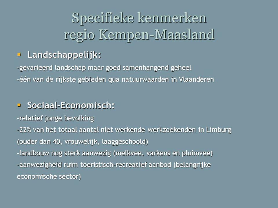Specifieke kenmerken regio Kempen-Maasland  Landschappelijk: -gevarieerd landschap maar goed samenhangend geheel -één van de rijkste gebieden qua nat