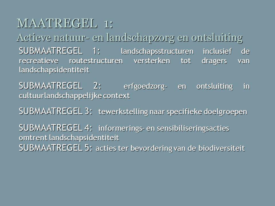 MAATREGEL 1: Actieve natuur- en landschapzorg en ontsluiting SUBMAATREGEL 1: landschapsstructuren inclusief de recreatieve routestructuren versterken