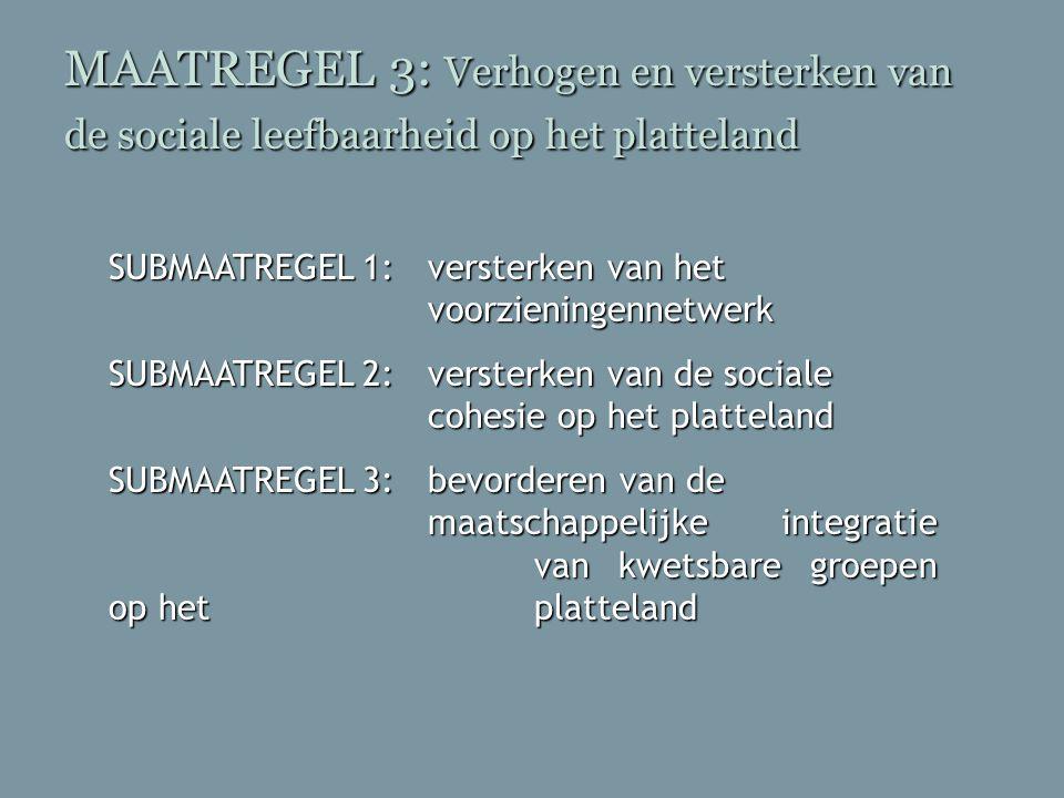 MAATREGEL 3: Verhogen en versterken van de sociale leefbaarheid op het platteland SUBMAATREGEL 1: versterken van het voorzieningennetwerk SUBMAATREGEL