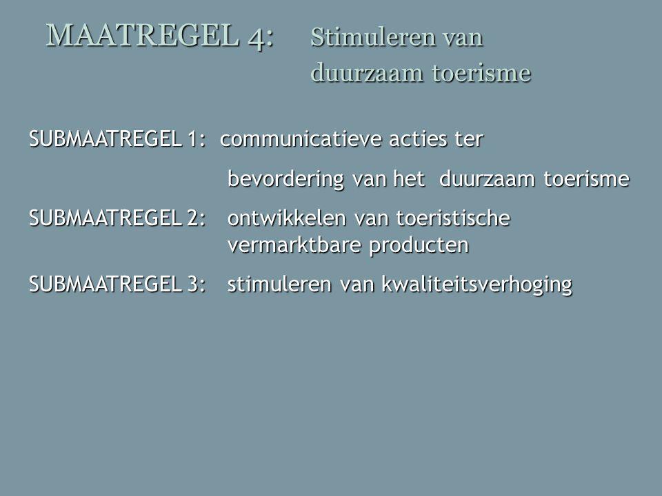 MAATREGEL 4: Stimuleren van duurzaam toerisme SUBMAATREGEL 1: communicatieve acties ter bevordering van het duurzaam toerisme bevordering van het duur