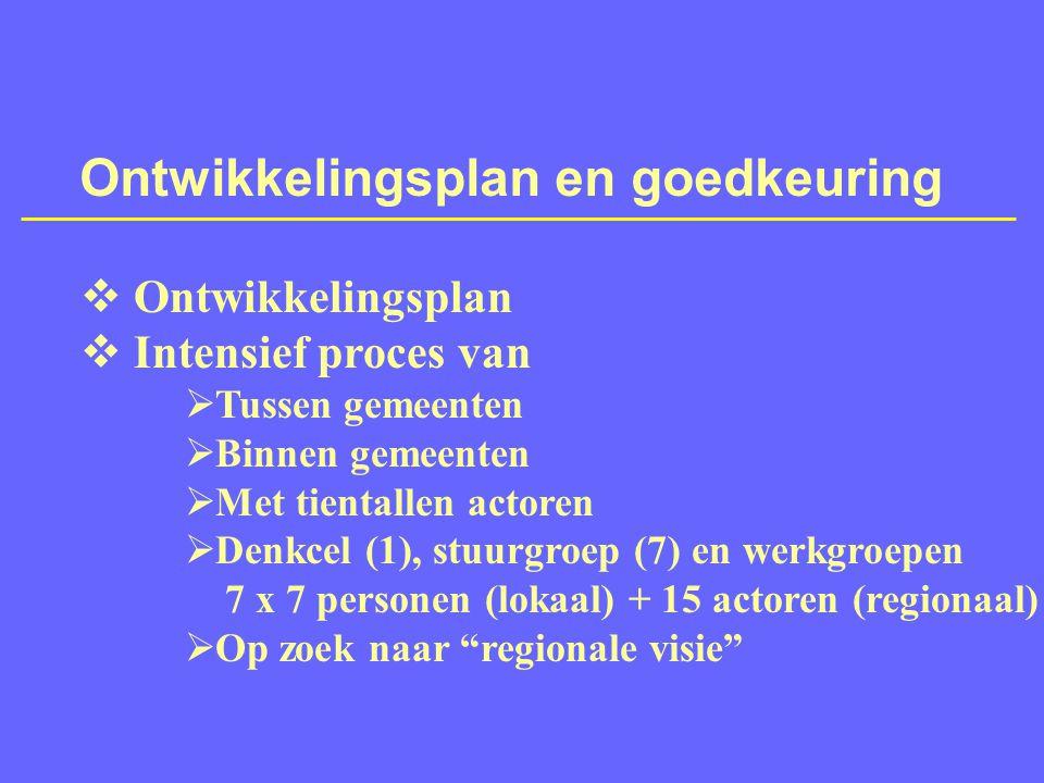 Ontwikkelingsplan en goedkeuring  Ontwikkelingsplan  Intensief proces van  Tussen gemeenten  Binnen gemeenten  Met tientallen actoren  Denkcel (