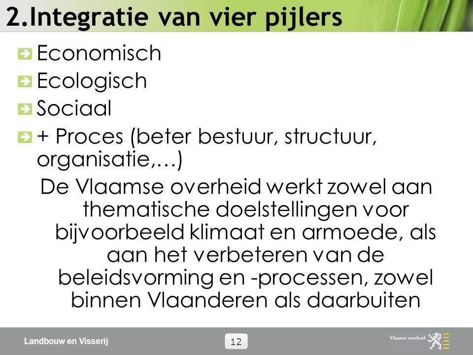 Landbouw en Visserij 12 2.Integratie van vier pijlers Economisch Ecologisch Sociaal + Proces (beter bestuur, structuur, organisatie,…) De Vlaamse overheid werkt zowel aan thematische doelstellingen voor bijvoorbeeld klimaat en armoede, als aan het verbeteren van de beleidsvorming en -processen, zowel binnen Vlaanderen als daarbuiten