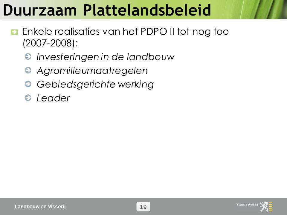 Landbouw en Visserij 19 Duurzaam Plattelandsbeleid Enkele realisaties van het PDPO II tot nog toe (2007-2008): Investeringen in de landbouw Agromilieumaatregelen Gebiedsgerichte werking Leader