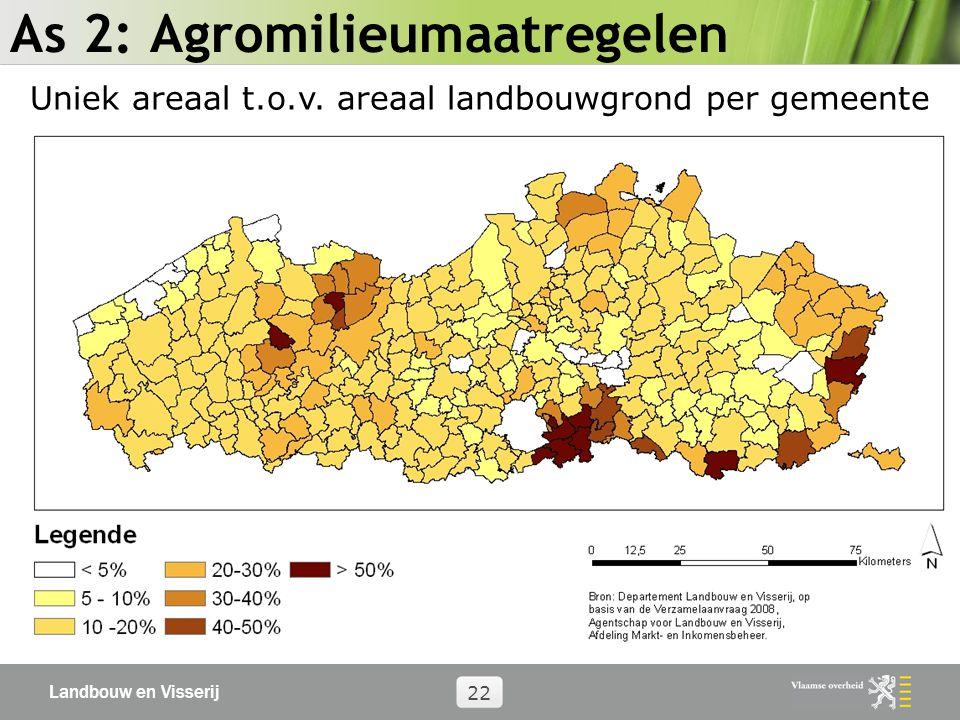 Landbouw en Visserij 22 As 2: Agromilieumaatregelen Uniek areaal t.o.v.