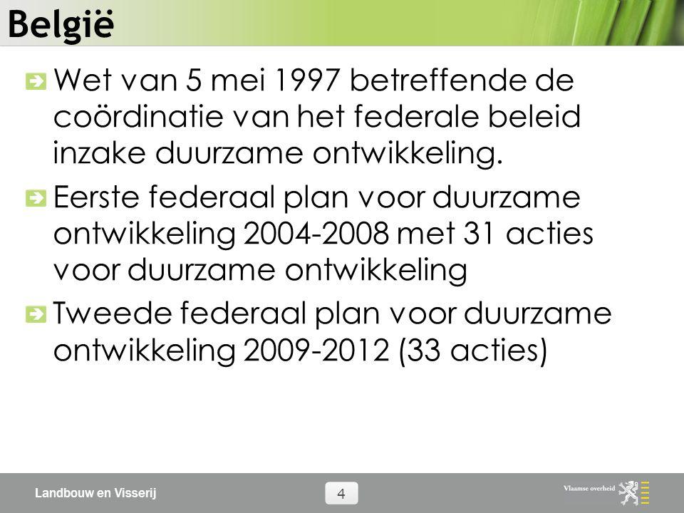 Landbouw en Visserij 4 België Wet van 5 mei 1997 betreffende de coördinatie van het federale beleid inzake duurzame ontwikkeling.
